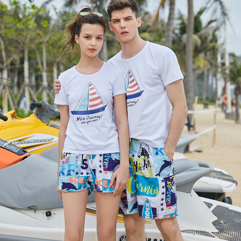 Men Shorts Slim Summer Chiffon Printing Beach Shorts Quick Drying Elastic Waist Board Shorts Men  GX1905
