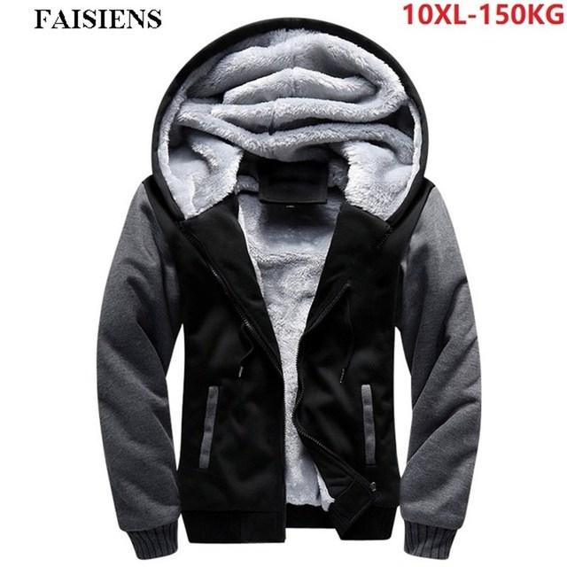 Men Sweatshirts Thick Hoodies Warm Fleece Hooded Sportwear Plus Large Size Big 8XL 9XL 10XL Zipper Winter Patchwork Outwear Coat Others Men's Fashion
