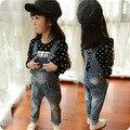 Primavera macacão jeans infantis versão Coreana de roupas infantis para crianças calças bonito vestido roupa dos miúdos do bebê