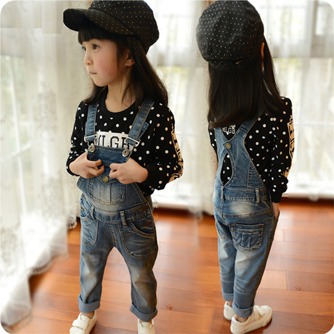 Spring children's denim overalls Korean version children's ... Korean Toddler Clothes