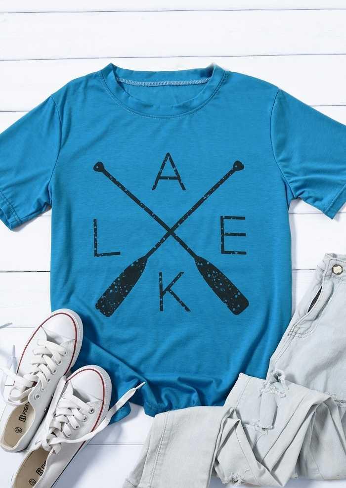 Plus Größe Sommer Frauen T-Shirt Tops See Gedruckt Harajuku Top Kurzarm Blau Baseball T shirt Weibliche Damen T Koreanische kleiden