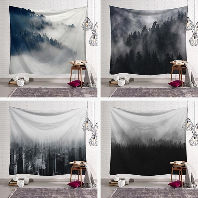 Foggy Forest Tapestry Wall Hanging Hippie Black And White Mat Blanket Rug The City Of Fog Scenic Painting Dorm Room Decor