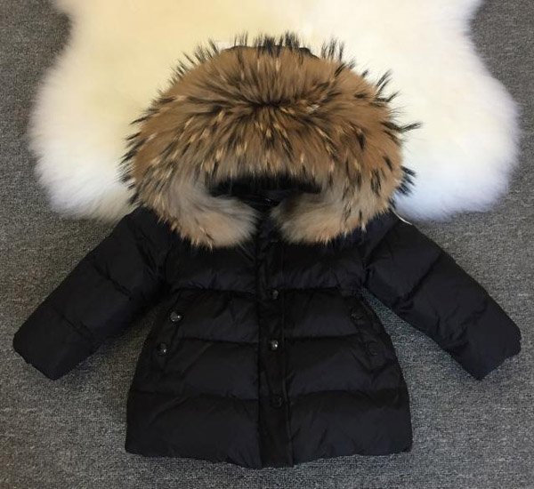 Children winter clothes coats girl white duck down down jacket natural fur collar cap removable 2013 winter brand fashion luxury natural white fox fur collar hood denim jacket duck down jacket women outerwear s m l xl d2124
