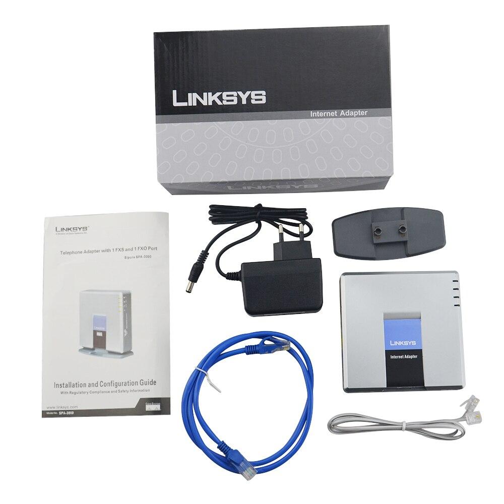 Envío rápido libre! mejor desbloqueado LINKSYS SPA3000 SPA 3000 FXS VOIP gateway teléfono adaptador a estrenar