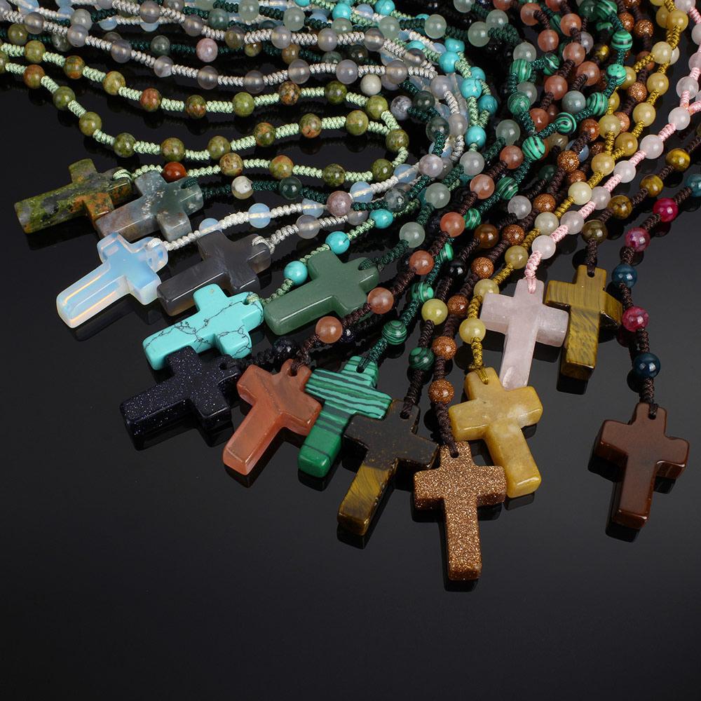 Jewelry & Accessories Necklaces & Pendants Apprehensive Yyw 70cm Long Sweater Necklace Women Man Jewelry Cross Charm Pendant Created Gemstone Quartz Opal Stone Beaded Necklaces