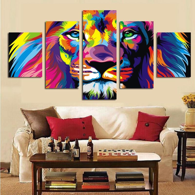 5Panel Print Water Lion Abstract Oil Painting on Canvas Animal Moderní modulární nástěnný plakát pro obývací pokoj Cuadros