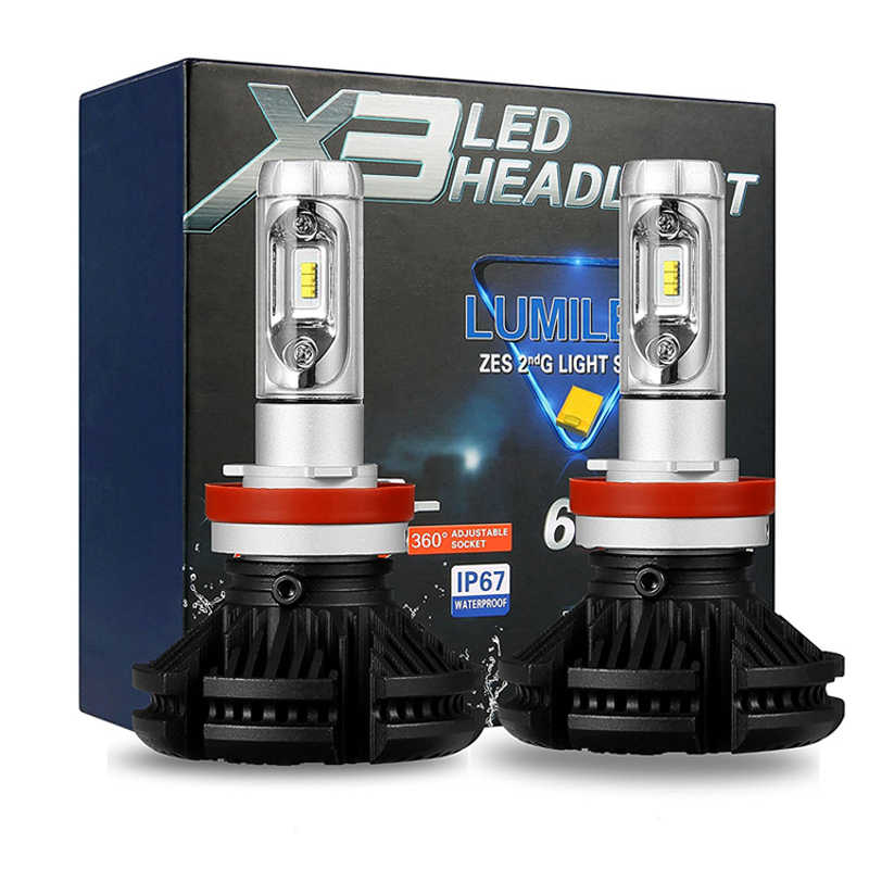 H4H7H11 H13 9005 9006 9007 Car LED Headlight Bulbs X3  6000K 50W 6000LM 12V 24V  LED Headlamp 2PCS