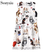 SVORYXIU 2017 Summer Casual Mini Dress Women's Runway Designer Sleeveless White Kitten Letter Print Sexy Street Dresses