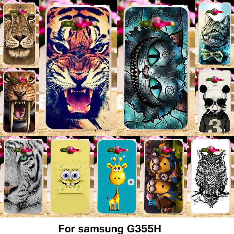 TAOYUNXI TPU Plastic Phone Cover Case for Samsung Galaxy Core 2 II G355H G355M Core2 G355 G3556D G3559 G3558 Case Animal Cover