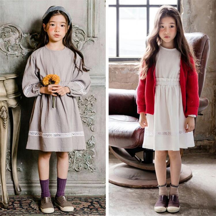 cotton loose lantern sleeves toddler girls dresses autumn 2018 hollow out grey white school girls party dress kids teen clothes long sleeves guipure hollow out blouse