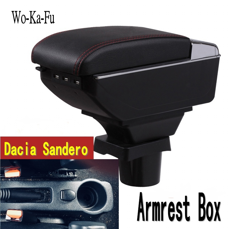 For Dacia Sandero armrest box central Store content Storage box Dacia stepway armrest box with cup holder ashtray USB interface