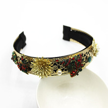 Ladies Jewelled Headband Jewel Gem Baroque Diamond Crowns Earring Bridal Flower Hair Accessories Pearl Head Band Women Hairband цена в Москве и Питере