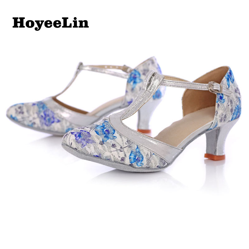 Women Ladies Floral Printing Modern Dance Shoes Closed Toe Tango Salsa Ballroom Party Dancing Performance Heels Shoes