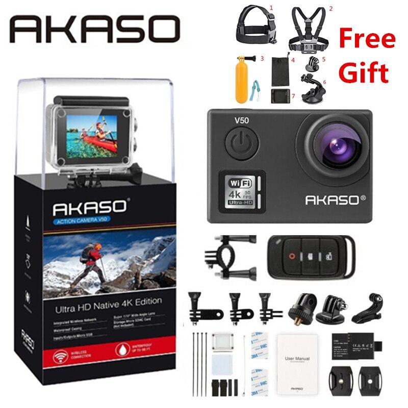 AKASO V50 4 K 30FPS WIFI al aire libre Cámara de la acción del deporte con Els Ultra HD impermeable DV videocámara 20MP 170 grados submarina extrema