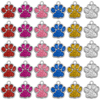 Wholesale 60pcs Lot Glitter Paw Pet ID Tags Stainless Steel Personalized Puppy Cat ID Tag For