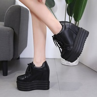 9acd137dd9 New Korean Women S Shoes 13cm Straps Wedge Heel Boots Muffin Thick Bottom  Increased Fashion Black