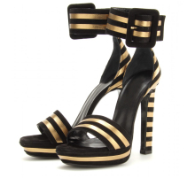 2015 Plus Size Novelty Women Shoes Ankle Strap Square High Spool Heels Gold And Black Stripe Sandals Platform Summer Party Shoes