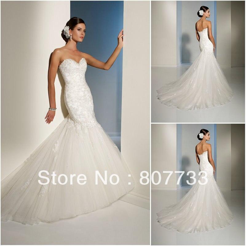 Diamond Paste Flower Lace Sweetheart Fishtail Straps Wedding Dress