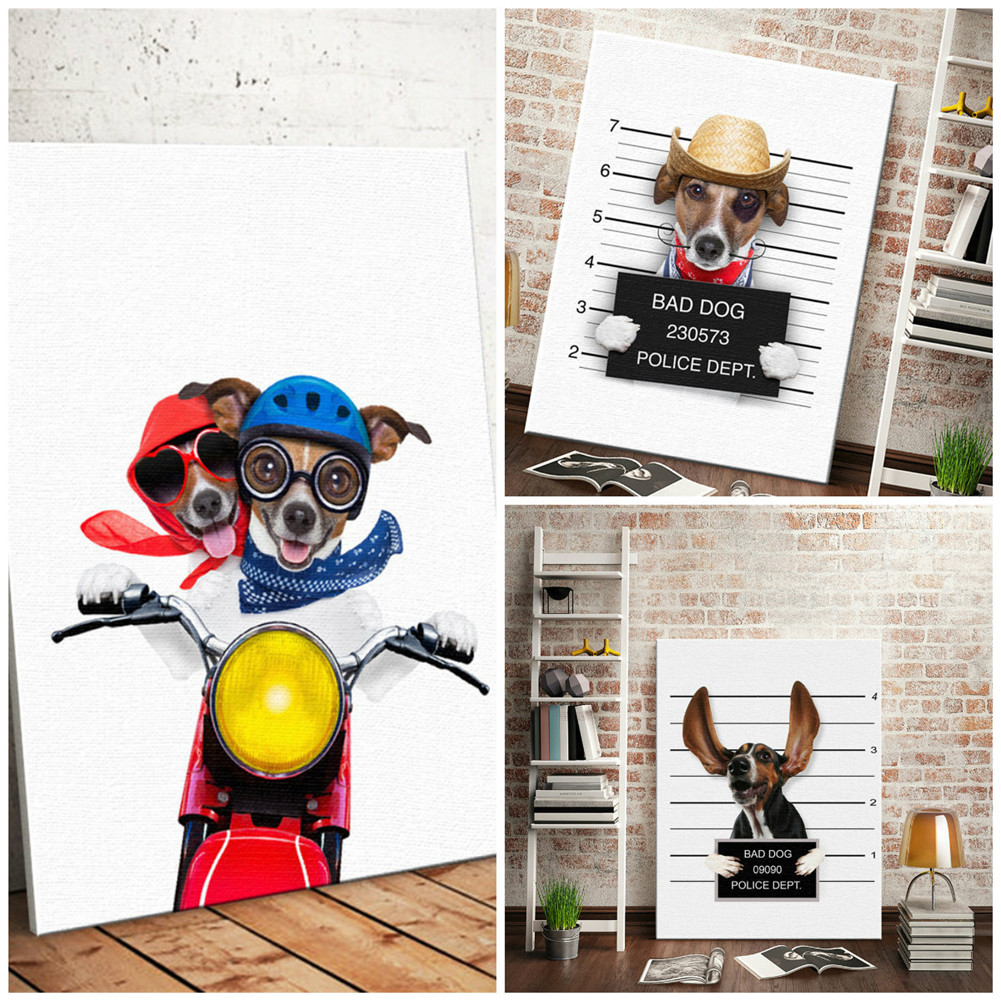 HTB1dCtJLSzqK1RjSZFLq6An2XXaH Nordic Style Boxing Dog Canvas No Frame Art Print Painting Poster Funny Cartoon Animal Wall Pictures For Kids Room Decoration