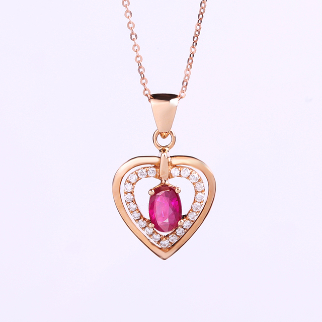 Robira new red heart pendant necklace for women 18k rose gold robira new red heart pendant necklace for women 18k rose gold color natural ruby diamond loving mozeypictures Choice Image
