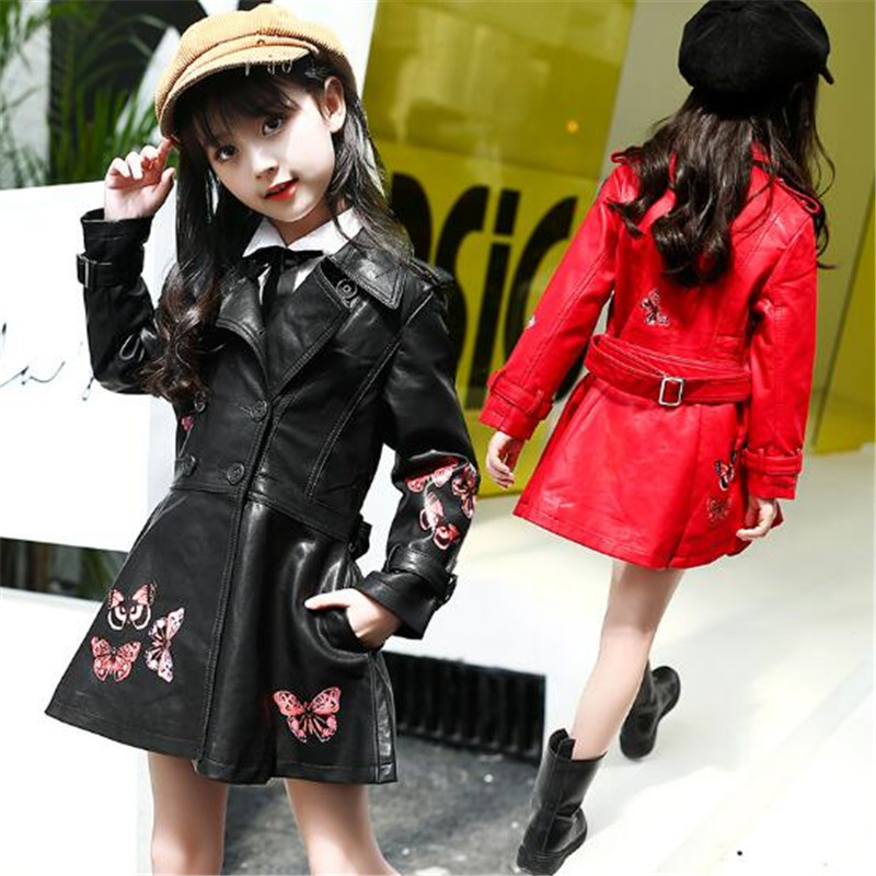 Princesa outono Meninas Casacos Black Red PU LEATHER Tops Jacket Crianças Crianças 2017 Vestido de Outerwear Menina Casacos 6-15 T Borboletas