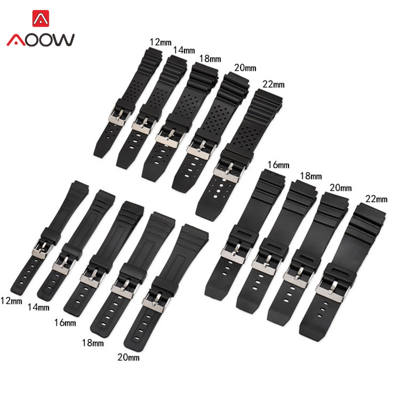 AOOW Silicone Rubber Watch Band Strap Fit For Casio G Shock Replacement Black Waterproof Watchbands Accessories 12/14/16/18/20mm