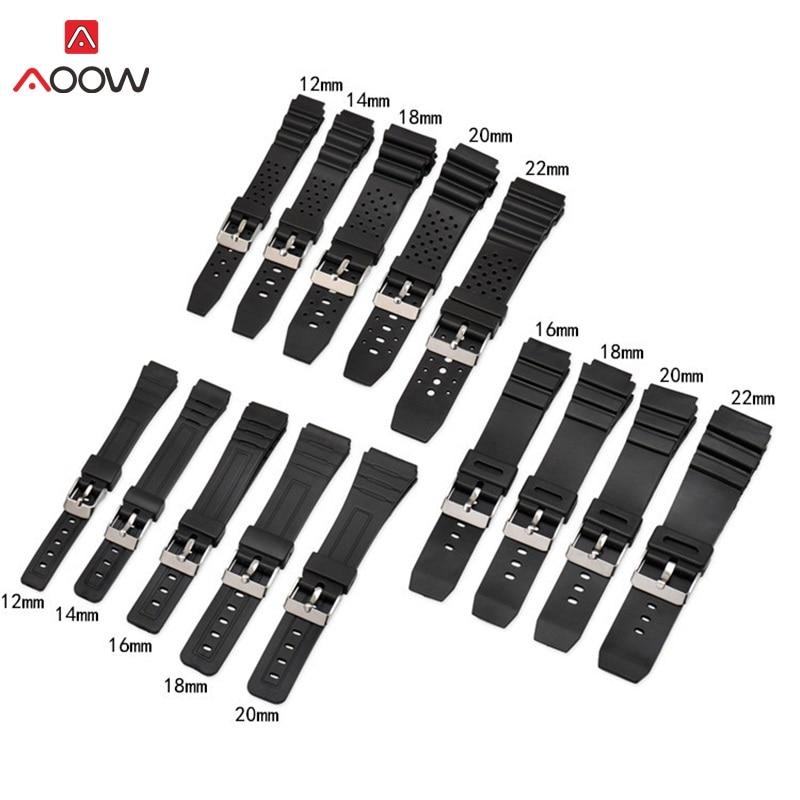 Bracelet de montre AOOW en caoutchouc de Silicone pour remplacement de choc Casio G noir étanche bracelets accessoires 12/14/16/18/20mm