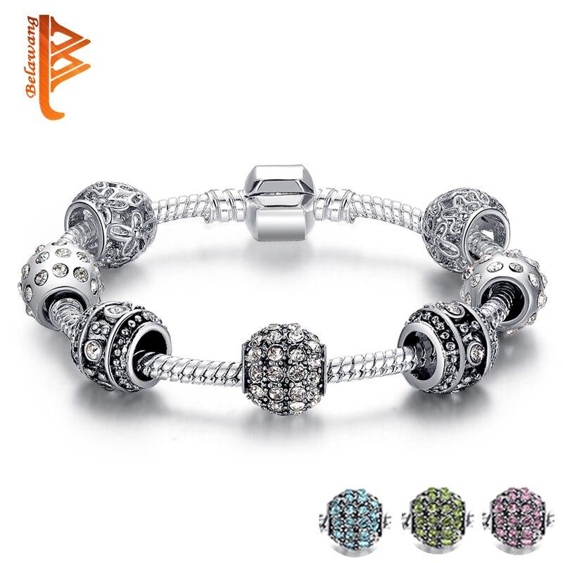 Mulheres da moda Pulseira de Prata Banhado de Cristal do Grânulo Charm Bracelet Para As Mulheres Natal Presente de Jóias Pulseiras Originais PS3005