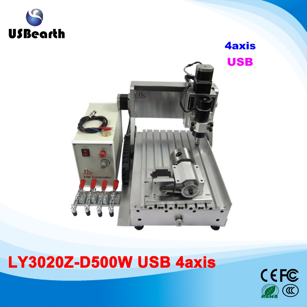 500W mini cnc router, usb port 4 axis cnc engraving machine with ball screw for wood, metal free shipping cnc router 3020 500w usb 3 axis cnc engraving machine usb interface port