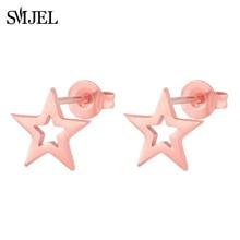 SMJEL Fashion Bohemian Vintage Earrings Jewelry Cute Black Geometric Round Stainless Steel Stud Earring Best Gift for Women Girl