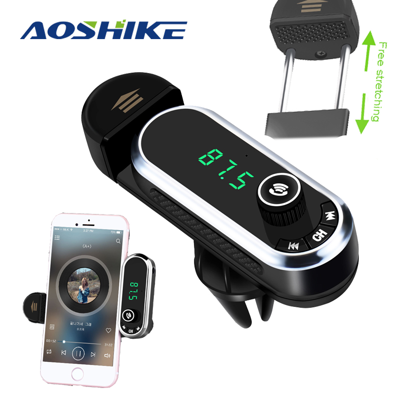 Aoshik FM Transmitter Aux Modulator Multi-function Bluetooth Handsfree Phone Holder Car Kit Audio MP3 Player USB Charger TF Card