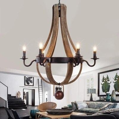 Европейский Краткая Винтаж дерева кулон лампа Бар Ресторан деревянное ведерко Hanglamp Сельский промышленный Дубовые бочки шестиконечный люс