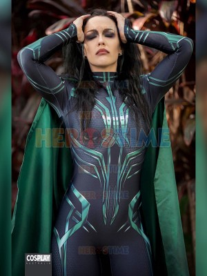 Thor Ragnarok Hela Cosplay Costume Halloween Party Superhero Zentai Bodysuit Adult Jumpsuit With Cape Can Custom