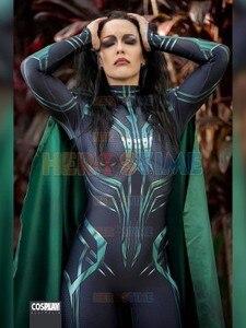 Image 1 - Thor Ragnarok Cosplay Hela, disfraz de superhéroe Zentai para fiesta de Halloween, Mono para adultos con capa, hecho a medida