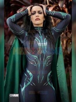 Thor Ragnarok Hela Cosplay Kostum Pesta Halloween Superhero Zentai Baju Dewasa Jumpsuit dengan Cape Bisa Custom Made