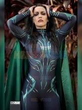 Thor Ragnarok Hela Cosplay Kostuum Halloween Party Superhero Zentai Bodysuit Volwassen Jumpsuit Met Cape Kan Custom Made
