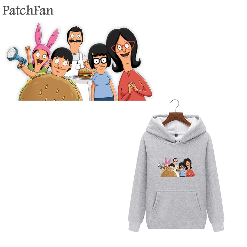 Patchfan Bobs burger heat press stickers iron on patches Handmade clothes jacket t shirt thermal transfer A1760