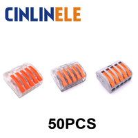 50pcs Mini Fast WAGO Connector 222 415 PCT 215 Universal Compact Wire Wiring Connector 5 Pin