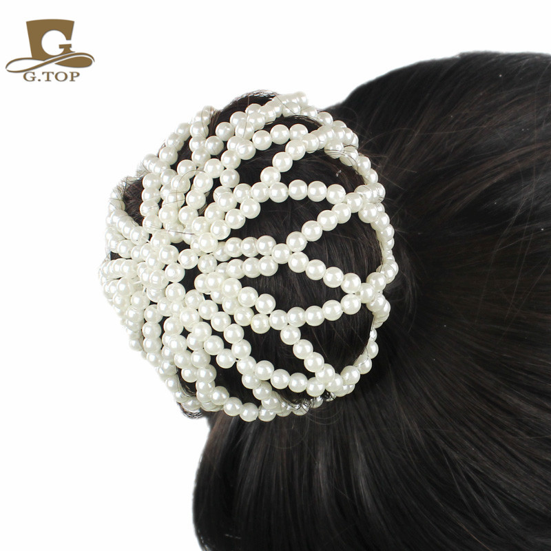 Fashion Women Pearl Snood Net Waitress Elastic Crochet Hair Ballet Bun Covers Ornament In Accessories From S Clothing On