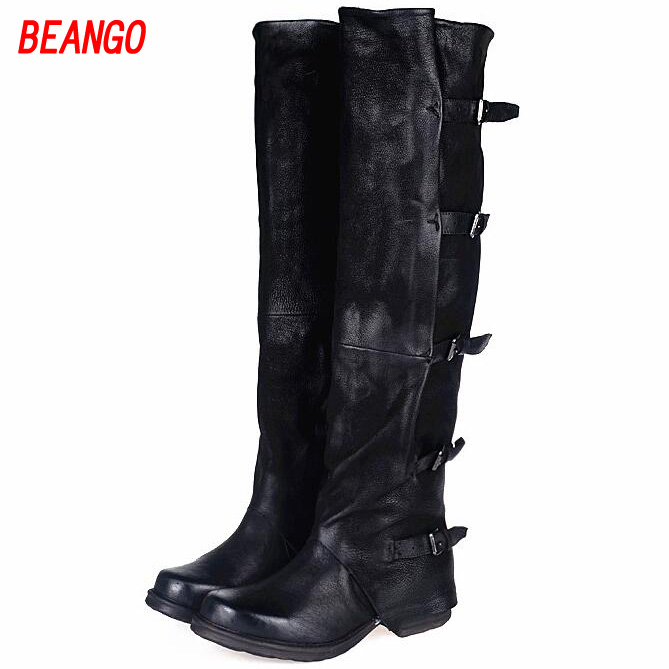 BEANGO New Arrival Fashion Sheepskin Square Heel Knee-high Boots Thin Leg Warm Boots Retro Do Old Belt Buckle Flat Female Boots