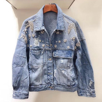 Высококачественный корейский Ретро джинсовая куртка с эффектом поношенности оборванный Вышивка Письмо Свободная джинсовая куртка с длинн