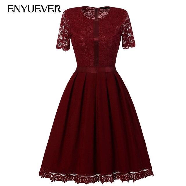 Enyuever Vestidos Vintage Spitze Kleid Solide Pinup Kurzarm Tunika ...
