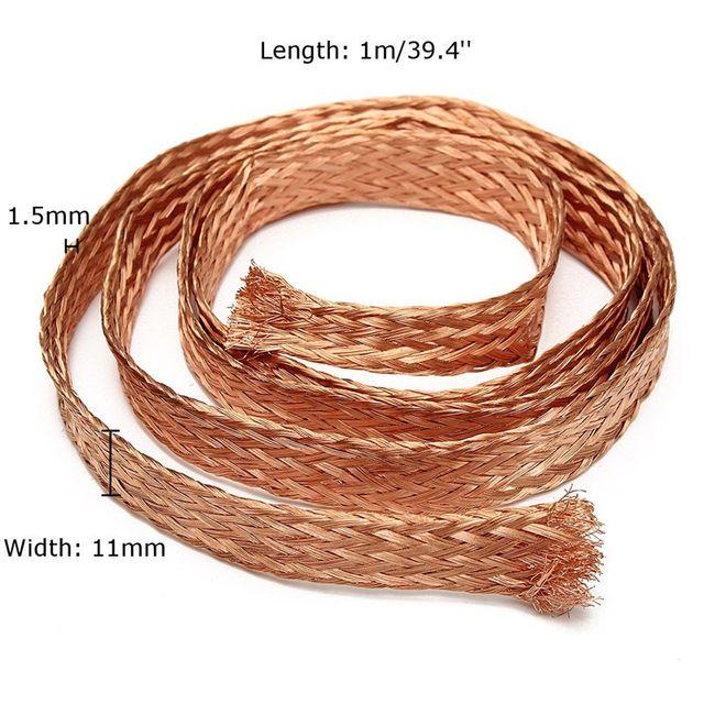 Online-Shop 1 mt (3.3ft) 11mm Flache Kupfergeflecht kabel Bare ...