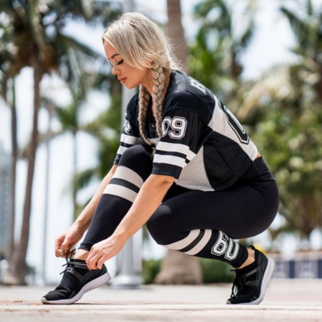 Women's Striped Sporty Style Leggings S-XL