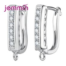 Fine Jewelry Components Genuine 925 Sterling Silver Rhinestone Handmade Findings Earring Hooks Leverback Earwire Fittings(China)