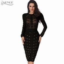 2017 женские зимние Bodycon платье оливкового сетки черный, серый, красный до колена знаменитости с длинным рукавом Бандажное платье оптовая продажа