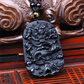 Unique Nature Health Black Obsidian Carved Dragon Pendent Rope Stone Beads Chain Necklace Man Woman Lover's Couple Jewelry