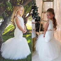 Sexy white/ivory tulle mermaid V back Flower Girl Dresses little bride beaded pearls wedding party gown for holy first communion