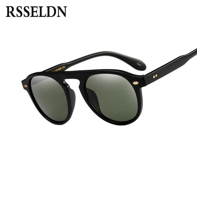 f9ce2969af4e5 RSSELDN Clássico Rodada Rebite Óculos de Sol Das Mulheres Dos Homens de  Moda Designer de Marca