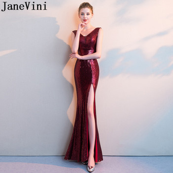 JaneVini Wine Sequin Mermaid Evening Party Dress High Split V-Neck Formal Gown Long Sequined Brides Mother Dresses for Weddings